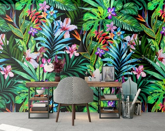 Tropical Removable Wallpaper - Colorful Leaves Wallpapers - Peel & Stick - Self Adhesive Fabric - Temporary Wallpaper - SKU:TRLE