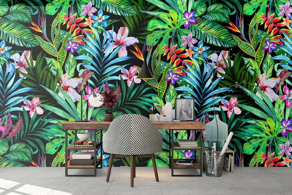 Tropical Removable Wallpaper Colorful Leaves Wallpapers