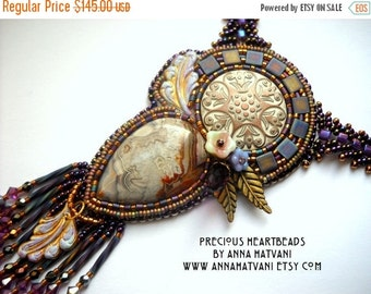 SPRING SALE 15% OFF Bead Embroidery Necklace  Bead Embroidered Purple Gold Bronze Lilac with Crazy Lace Agate and Swarovski crystals