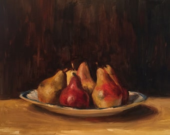 Red Pears Still Life Original Oil Painting