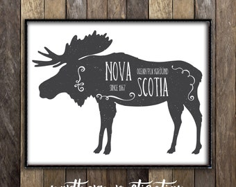 Nova Scotia Moose Decor - Rustic Hunting Country Sign Canadian Art - Lodge Print Cabin Decor - Halifax NS