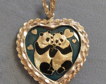 1/4 oz .999 Silver Heart, 2 Enameled Pandas in Sterling Heart Beze