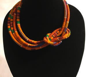 African Kente Fabric Rope Necklace