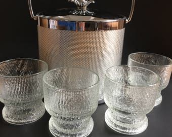 Vintage Old Fashioned Glasses Indiana Glass Crystal Ice Mid Century Modern Tree Bark Pattern Barware Set of Four