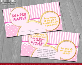 Baby Girl Minnie Mouse Baby Shower Invitation Inserts - INSTANT DOWNLOAD - Pink Girl Minnie Printable Book Request & Diaper Raffle Tickets