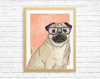 Dog Art Print, Pug Art, Pug Wall Art, Pug Watercolor, Dog Lover Gift, Pet Portrait, Dorm Decor, Home Decor, Office Decor, Nursery Art