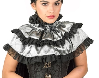 Victorian Collar Steampunk Two layered Neckpiece Bib Cape Renaissance Neck Tudor Ruff Gothic Collar Silk Satin Lace Cape