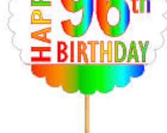 Happy 96th Birthday Rainbow Cupcake Decoration Topper Picks -12pk
