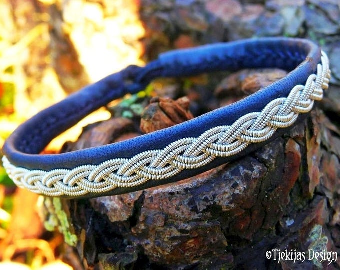 Handmade Viking Jewelry | LIDSKJALV Norse Sami Bracelet for Guys and Girls | Navy Blue Leather Cuff Bangle with Pewter Braid