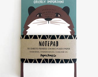 Otterly Important Notepad // Whimsical Quirky Sea Otter Minimalist Illustration Sketchbook Notes Write Organize Recycled Stationery Gifts