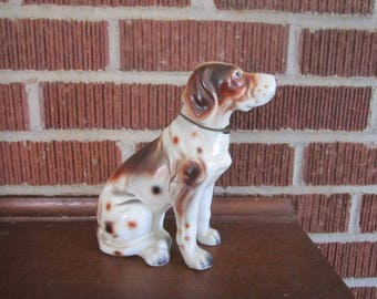 Vintage Large Ceramic English Setter Dog Figurine with Metal Collar