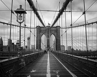 Resolute, Brooklyn Bridge, Brooklyn, New York City, New York, Black and White, East River - Travel Photography, Print, Wall Art