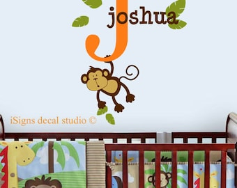 Monkey Name Wall Decal   Monkey Wall Decal   Nursery Wall Decal   Jungle  Theme Nursery   Safari Nursery