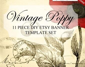 Etsy Banner Set - Etsy Banner Template Set - DIY Banner, Vintage Banner, Poppy Banner, Etsy Banner Set & Etsy BannerTemplate, Shop Banner