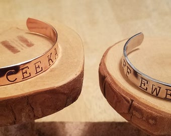 Eff Ewe Cee Kay Naughty hand stamped aluminum or copper cuff bracelet ..... your choice!