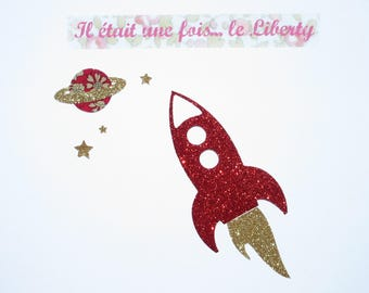 Applied fusible rocket fabric liberty Capel fabric and red glitter iron on patch motif rocket fusible sequined appliques