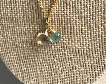 Faceted Citrine and Green Kyanite Teardrop Necklace on 14k Gold