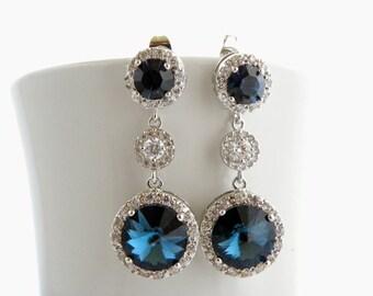 Montana Blue Swarovski Earrings, Navy Blue Wedding Earrings, Blue Drop Earrings, Cubic Zirconia Earrings Blue Bridesmaid Jewelry Blue Earing