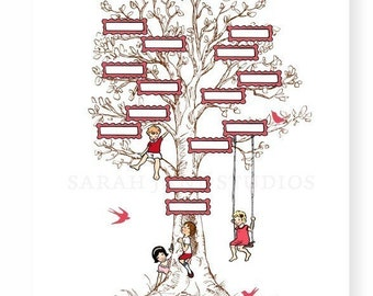 Children's Wall Art Print - Family Tree (Pink) - 11x14 - Kids Nursery Room Decor