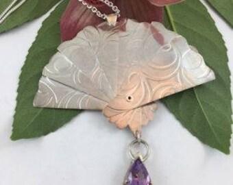 Prince Sterling Silver Textured Amethyst Fan