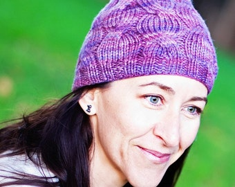 Cable Knit Beanie / Hat in Wool. Handmade in Australia. Lilac / Mauve by Sheeps Clothing