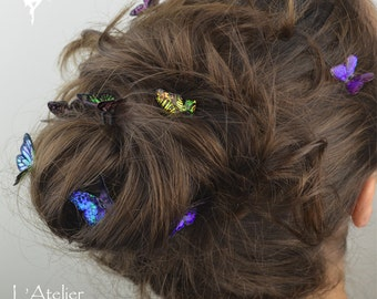 3 pieces : Iridescent Butterflies Hair pins & clips