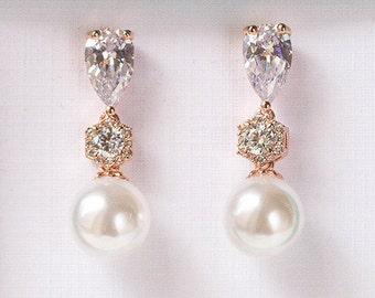 Pearl Earrings Rose Gold Jewelry Wedding Jewelry Bridal Accessories Bridesmaid Jewelry Rose Gold Earrings Drop Earrings E348-RG