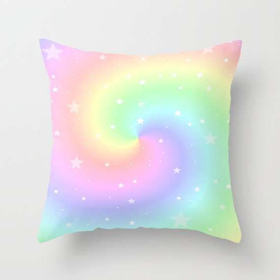 Throw Pillow, Rainbow Swirl and Stars, Pastel Colors Pillow, Cover, Cushion, Wedding Gift, Eye Candy, Nursery Pillow, Dorm, Office, Hotel