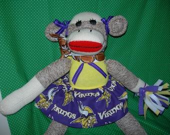 Minnesota Vikings Football Brown Red Heel Sock Monkey Girl Doll/Cheerleader