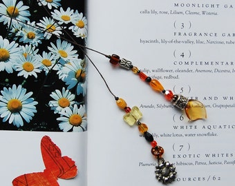 Sunflower Butterfly Lampwork Leaf Beaded Bookmark OOAK - Orange, Black, Yellow, Silver, Amber - Lampwork Leaf