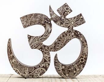 Wooden OM Symbol engraved, Namaste decor, yoga gifts, Aum symbol, OM wall art, OM decor, Yoga studio decor, gift for Yogi, yoga wall decor