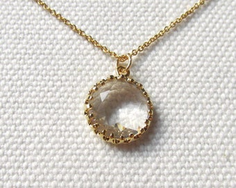 Clear Crystal Necklace Round Pendant 14k Gold Filled or Plate Thin Chain Dainty Jewelry Simple Elegant