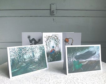 Pack Of 5 Greetings Cards. Multipack Blank Note Cards. Original Art Cards. Selection Of Note Cards.