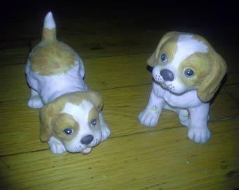 1980s home interior playful puppies figurines