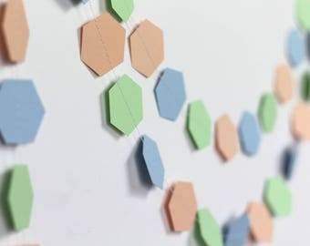 Pastel Geometric Garland - Pastel Party Decorations - Pastel Hexagon Garland - Blue Peach Mint Green Garland - Spring Party Decor