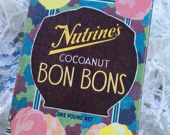 Vintage 1930s 1940s Candy Box Nutrine's Cocoanut BON BONS The Box Is Empty Collectible Decorative Item Valentine's Day Collectible