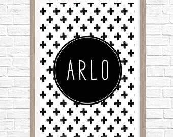 Boys Monochrome Name Print, Custom Prints, Black & White Prints, Wall Art, Wall Prints