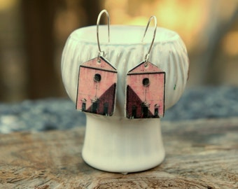 Venice earrings Architectural jewelry Skyline Cityscape Pink jewelry Art jewelry 18th century Sterling silver earrings House Building