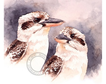 Kookaburras watercolour - wildlife art - nature, bird art, print of original artwork