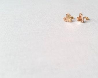 Golden Heart Studs - 14k Yellow Gold Fill Hammered Artisan Heart Post Earrings Handmade Valentine Gift Simple Modern Minimalist Petite