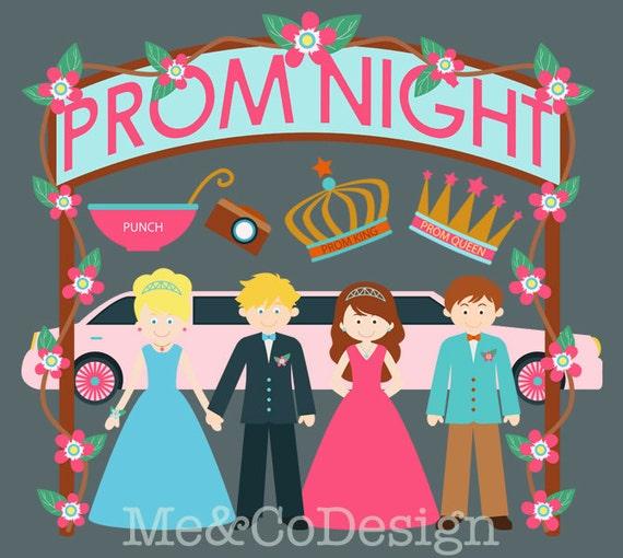 prom night clipart fun cute clipart girl and boy instant download rh etsystudio com prom silhouette clip art clipart prom night