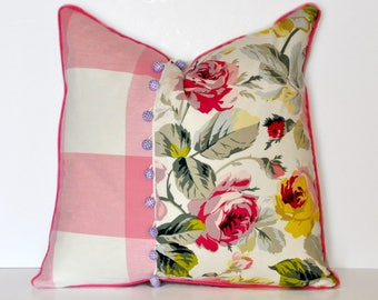 FLORAL and PLAID PILLOW // Floral Pillow Cover, Plaid Pillow, Pink Floral, Floral Print, Pink, Flowers, Kids, Throw Pillow, Pillow Cover