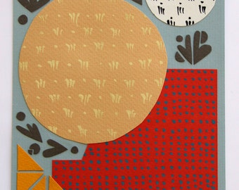 Original modern collage art: hand-painted shapes and geometric patterns