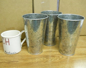 """3 Pc Galvanized Buckets French Style Taper 7"""" tall"""