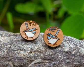 Cute Blue Wren Bird Earrings - Hand painted designer wood studs - Australian timber jewellery