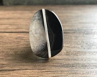 Quartz/Onyx Statement Ring, adjustable