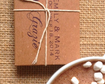 """Unique party favors // Winter wedding favors. Hot Cocoa """"Kits"""". Set of 50 Custom Favors. Gourmet. Rustic."""