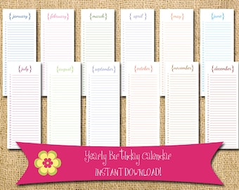 Important events etsy instant download perpetual birthday calendar with brackets diy printable anniversary birthdate important events saigontimesfo