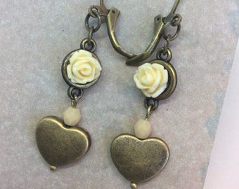 Flower Vintage inspired earrings floral earrings bronze heart earrings cottage style earrings