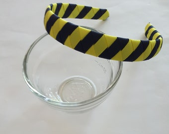 Navy blue and yellow ribbon woven stripe headband  University of Michigan colors